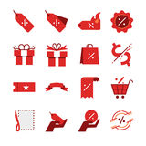 Rabatt- och försäljningslinje symbolsuppsättning Inklusive symbolerna som prislapp, prisrabatt, emblem, kupong, specialt erbjudan Royaltyfri Fotografi