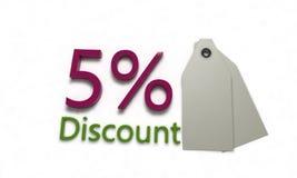 Rabatt %5 på vit, 3d framför Royaltyfri Fotografi