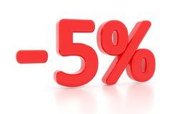 Rabatt 5 Prozent 3d 5% Stockbilder