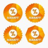 Rabatt - Rabatte in der deutschen Zeichenikone Stern Stockbilder
