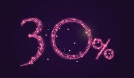 30% rabatt - rabattförsäljningstecken - stjärnasymbolsnummer Fotografering för Bildbyråer