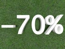 Rabatt siebzig Prozent Stockfotos