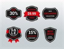 Rabatt- und Angebotaufkleber für Shopförderung stock abbildung
