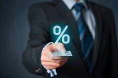 Rabatt und Kommission Stockfoto