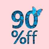 90% Rabatt-Verkaufsförderung Das Konzept des stilvollen Plakats, Fahne, Anzeigen Lizenzfreies Stockfoto