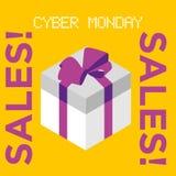 Rabatt-Verkaufskonzept Cybermontag-Vektors minimales Stockfotografie