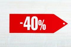 Rabatt von vierzig Prozent stockfotografie