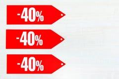 Rabatt von vierzig Prozent lizenzfreie stockfotos