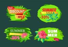 Rabatt 30 weg von Sommer-großer Verkauf gesetzten Promo-Aufklebern lizenzfreie abbildung