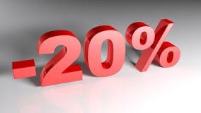 Rabatt 20% - Wiedergabe 3D Stockbild