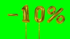 Rabatt 10 zehn Prozent weg von der Goldballon-Verkaufsfahne, die auf grünes Schirmeinkaufsangebot schwimmt - stock video