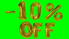 Rabatt 10 zehn Prozent weg von der goldenen Ballonverkaufsfahne, die auf grünes Schirmeinkaufsangebot schwimmt - stock video