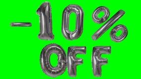 Rabatt 10 zehn Prozent weg von der silbernen Ballonverkaufsfahne, die auf grünes Schirmeinkaufsangebot schwimmt - stock footage
