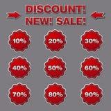 Rabattaufkleber und -aufkleber für Verkäufe Stockfotografie