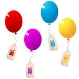 Rabattballone mit Preisen Stockfotografie