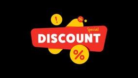 Rabattbaner med shoppingetiketten för specialt erbjudande stock video