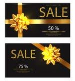 Rabattbeleg Vektor realistisch Goldene Funkelnkarte mit ausführlichen Illustrationen 3d des roten Bogens stock abbildung