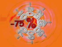 Rabatte -75 Prozent Stockbild