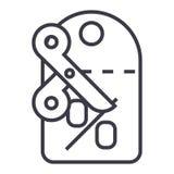 Rabatte, Aufkleber, scissors Vektorlinie Ikone, Zeichen, Illustration auf Hintergrund, editable Anschläge Stockbild