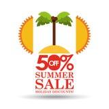 Rabatte des Sommerschlussverkaufs 50 mit Palmeninsel Lizenzfreie Stockbilder