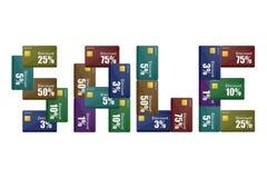 Rabatten cards försäljning royaltyfri illustrationer