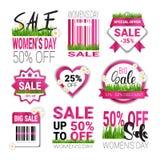 Rabatter för 8 dagen Sale för kvinnor för den fastställda mallen för etiketter för mars den internationella förser med märke den  Royaltyfri Bild