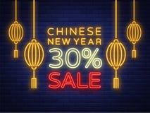 Rabatter för det kinesiska nya året 2018 Sale som annonserar Neontecken, emblem, symbol Ett glödande baner, en ljus natt Arkivfoton