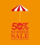 Rabatter för sommarförsäljning 50 med paraplyet Royaltyfria Bilder