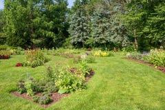 Rabatter i den Elizabeth Park ettårig växtträdgården drog tillbaka vid stora träd Royaltyfri Bild