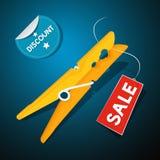 Rabattetikett, orange pinne, Sale etikett stock illustrationer