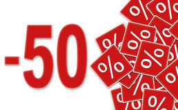 Rabattkennsatz -50% Stockfotos