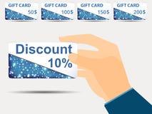Rabattkuponger i hand rabatt 10-percent Specialt erbjudande Ställ in gåvakortet Arkivbilder