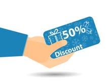 Rabattkupons in der Hand 50-prozentiger Rabatt Vektorillustration ENV 10 Schneeflocken und Geschenkboxen Vektor Abbildung