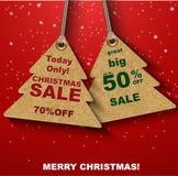 Rabattkupons in Form von Weihnachtsbaum Stockfotos