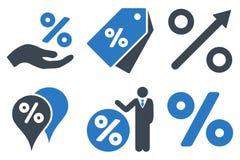 Rabattprocent sänker skårasymboler Arkivfoto