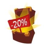 Rabattstamm Ein offener Kasten mit Schätzen, von denen eine rote Plakette mit einer Aufschrift minus zwanzig Prozent heraus hafte Lizenzfreie Stockfotos