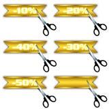 rabattsymboler erbjuder försäljningsspecialen Arkivbild