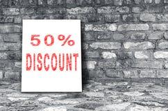 50% rabatttecken Arkivbilder