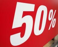 50% rabatttecken Royaltyfria Bilder