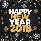Rabattverkaufs-Illustrationsfahne des guten Rutsch ins Neue Jahr 2018 Feuerwerksparteifeier-Plakatdesign des neuen Jahres Nacht Stockfotos