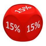Rabattwürfelkonzept 15% Stockbild