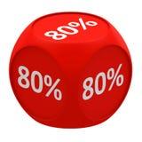 Rabattwürfelkonzept 80% Stockbild