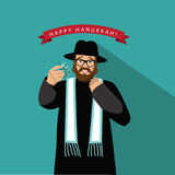 Rabbi Happy Hanukkah flat design Stock Photo