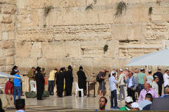 Rabbi and Other Jewish Men at the Wailing Wall Stock Photography
