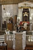 Rabbi preaches at the Moscow Choral Synagogue. Austere black and. Moscow / Russia- October, 25, 2018: Rabbi preaches at the Moscow Choral Synagogue. Austere stock images