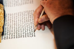 Rabbi writes letter  in the Torah scroll Royalty Free Stock Image
