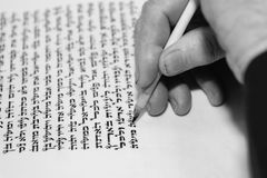 Rabbi writes letter  in the Torah scroll Royalty Free Stock Photography