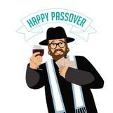 Rabbino felice di pesach con il matzoh ed il vino tradizionali Fotografia Stock Libera da Diritti