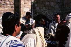 Rabbis in prayer in the wall of explanda lamentaci Stock Photo