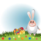Rabbit-01. Illustration for Easter. Rabbit with eggs for Easter with flowers Royalty Free Stock Images